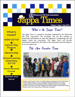 The Jappa Times| Volume 1, Issue 1, June 2016. | 'The Westwood Old Girls Association